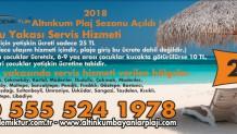2018 Sezonu Altınkum Bayanlar Plajı Anadolu Yakası Servis Hizmeti